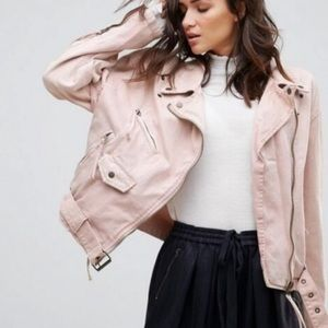 Free People Pink Denim Lace Up Moto Jacket Medium